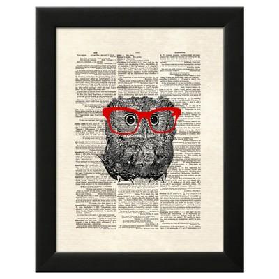 Smarty Owl Black Wood Framed Art Print
