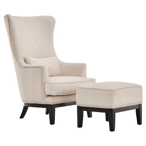 Park Way Grand Arm Chair with Ottoman Oatmeal - Inspire Q® - image 1 of 10