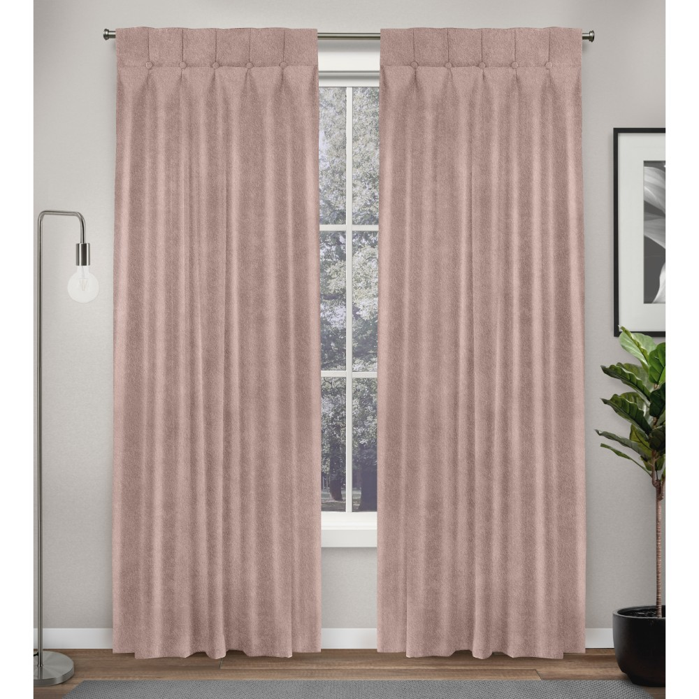 Best Discount 32x84 Ghent Metrosuede Inverted Pleat Button Top Curtain Panel Pair Blush Exclusive Home