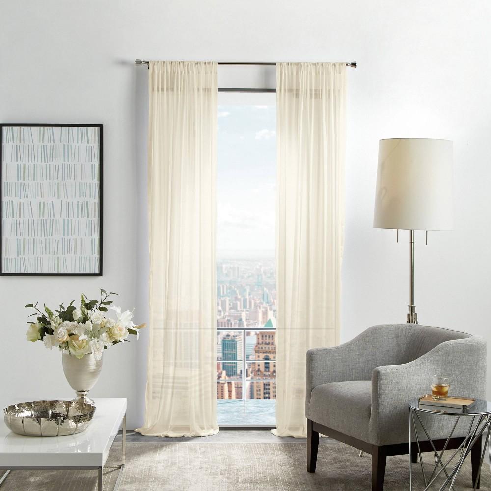 "Image of ""Set of 2 84""""x50"""" Glacier Sheer Curtain Panels Ivory - Martha Stewart"""