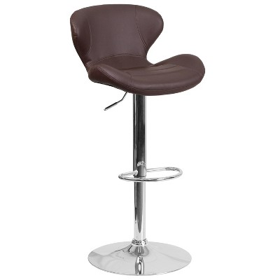Flash Furniture Contemporary Adjustable Height Barstool with Curved Back and Chrome Base