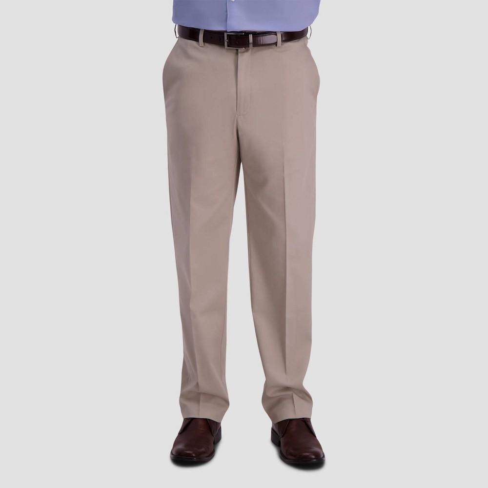 Haggar Men 39 S Premium No Iron Classic Fit Flat Front Casual Pants Sand 32x32