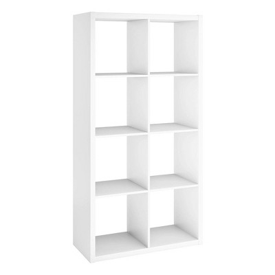 ClosetMaid 4583 Heavy Duty Decorative Bookcase Open Back 8-Cube Storage Organizer in White with Hardware for Closet, Office, or Toys
