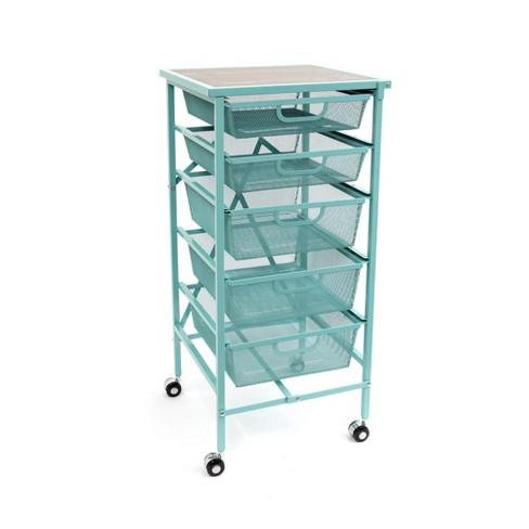 Origami Wheeled Folding Steel 5 Drawer Storage Kitchen Cart Wood Top,  Turquoise
