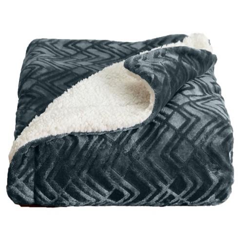 Home Fashion Designs Reversible Sherpa Velvet Plush King Blanket Charcoal Target