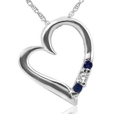 "Pompeii3 Diamond & Blue Sapphire Heart Pendant 3-Stone 14K White Gold with 18"" Chain"