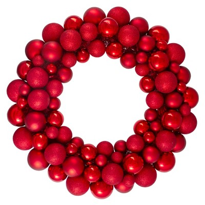 Northlight Red Hot 3-Finish Shatterproof Ball Christmas Wreath - 24-Inch, Unlit