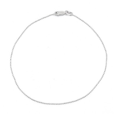 Sterling Silver Diamond-cut Ball/Beaded Chain Anklet