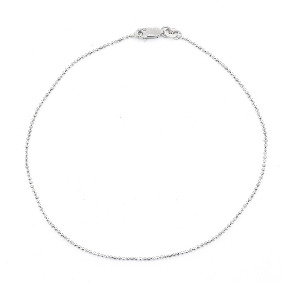 Compare Sterling Silver Diamond-cut Ball Beaded Chain Anklet