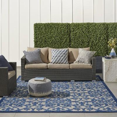 Nourison Aloha ALH21 Grey/Blue Indoor/Outdoor Area Rug : Target