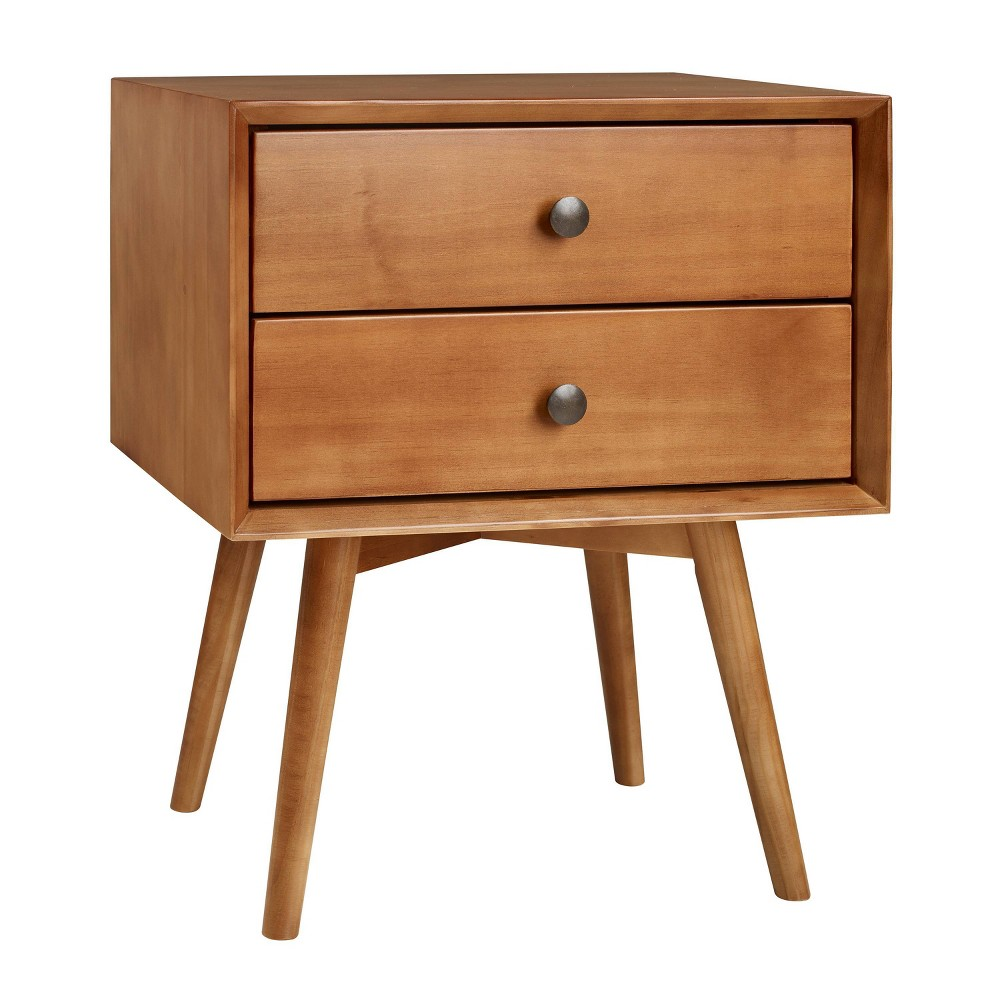 Mid Century 2 Drawer Solid Wood Nightstand Caramel - Saracina Home