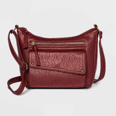 Bueno Zip Closure Crossbody Bag - Dark Red