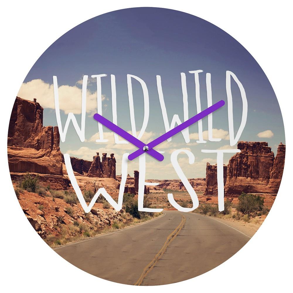 Leah Flores Wild Wild West Round Wall Clock - Deny Designs