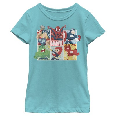 Girl's Marvel Winter Holiday Heroes T-Shirt