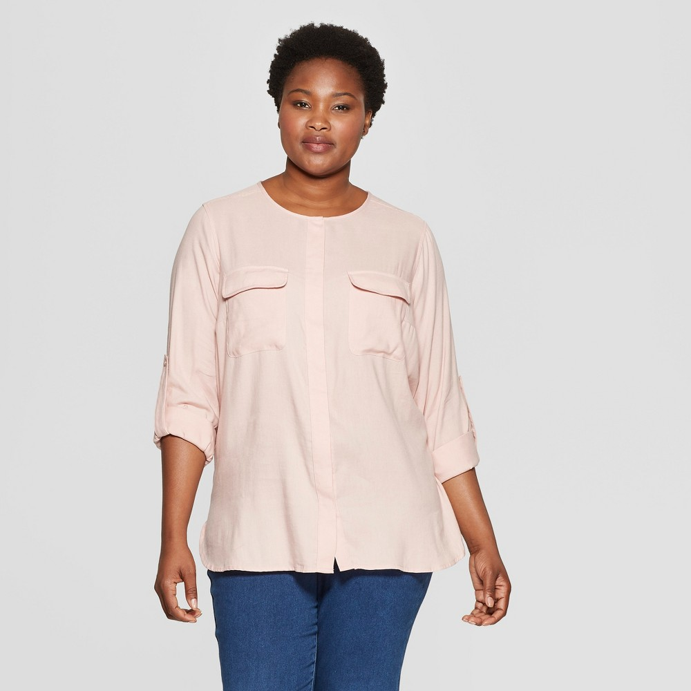 Women's Plus Size Utility Pocket Long Sleeve Shirt - Ava & Viv Blush 1X