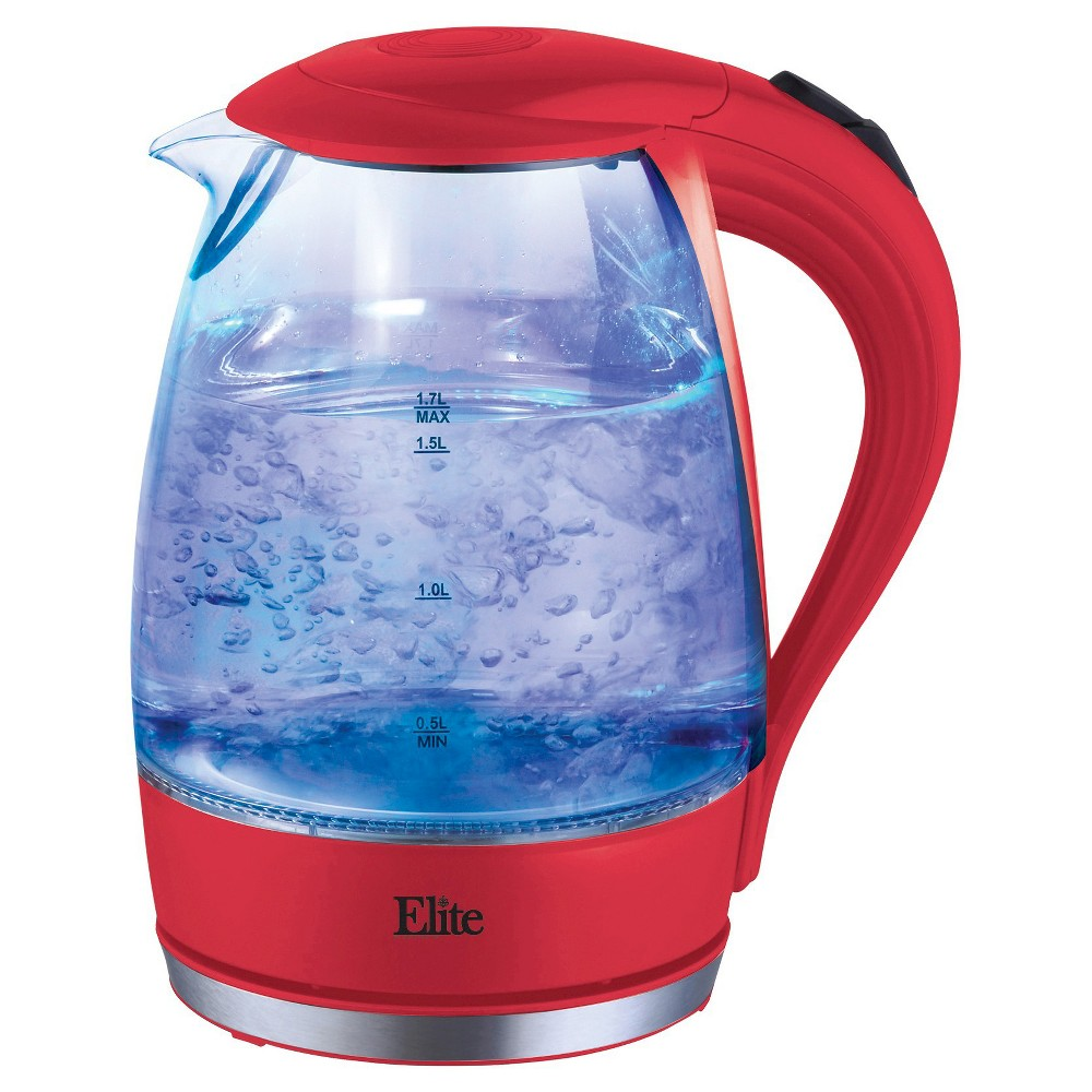 Elite Platinum 1.7 L. Cordless Glass Kettle – Red 49110562
