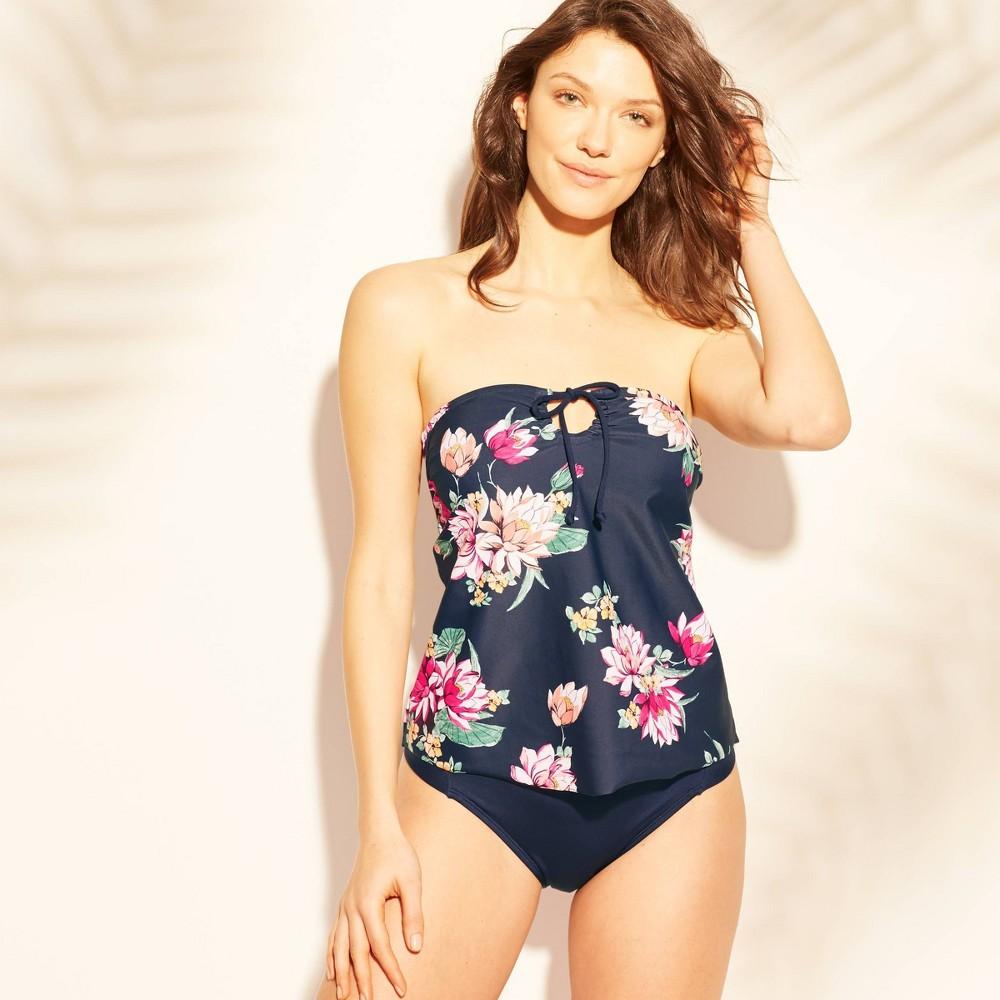 873d0c405124e Womens Keyhole Bandeau Tankini Top Kona Sol Navy Floral XS Blue
