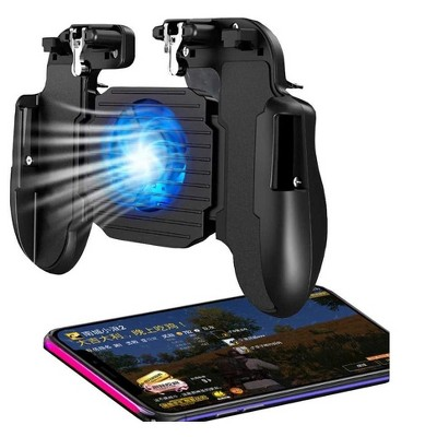Mobile Game Controller with Cooling Fan, Rubber Non-Slip Ergonomic Handle for Better Comfort Game Trigger Joystick Gamepad, Non-slip Pads