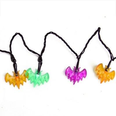 Northlight 10ct Bat LED Halloween String Lights Black Wire - 4.75' Purple/Orange/Green