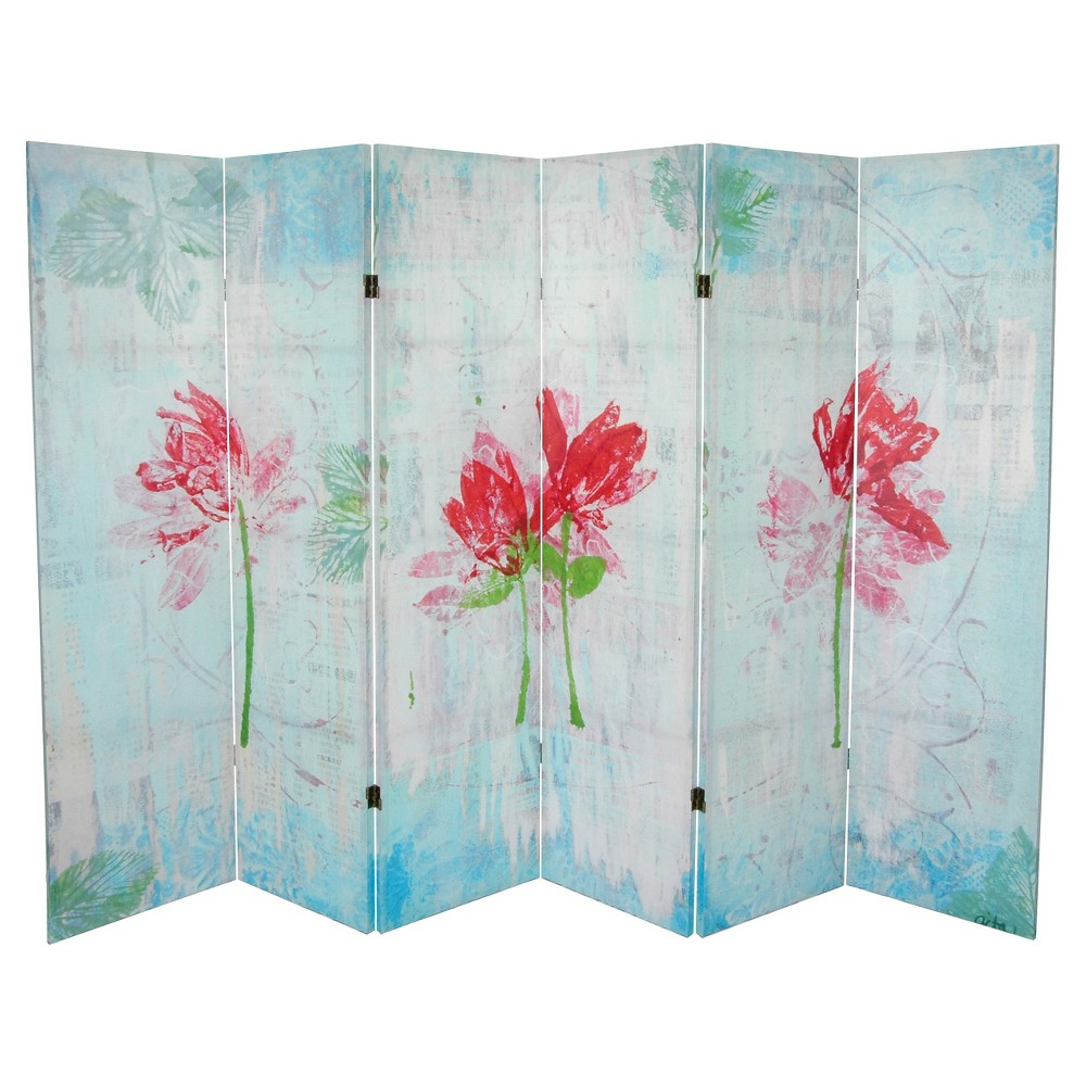 Spring Morning Canvas Room Divider - Oriental Furniture, Blue