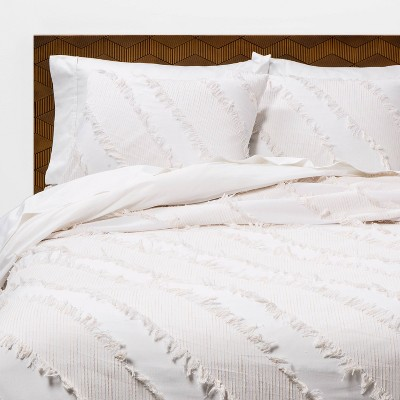 White Diagonal Textured Duvet & Sham Set - Opalhouse™