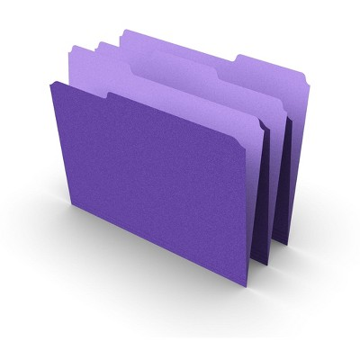 MyOfficeInnovations Colored Top-Tab File Folders 3 Tab Purple Letter Size 100/Pack 535559