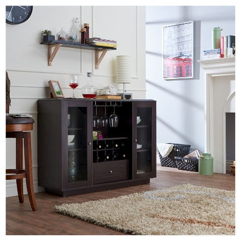 Candie Modern Multi-Storage Dining Buffet With Glass Cabinets Espresso -  HOMES: Inside + Out