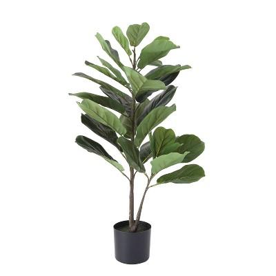 3' Artificial Faux Fiddle Fig Leaf Plant Tree in Pot - 3R Studios