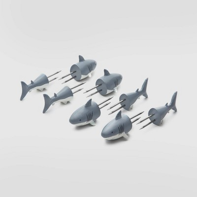 6pk Stainless Steel Shark Corn Holders Gray - Outset