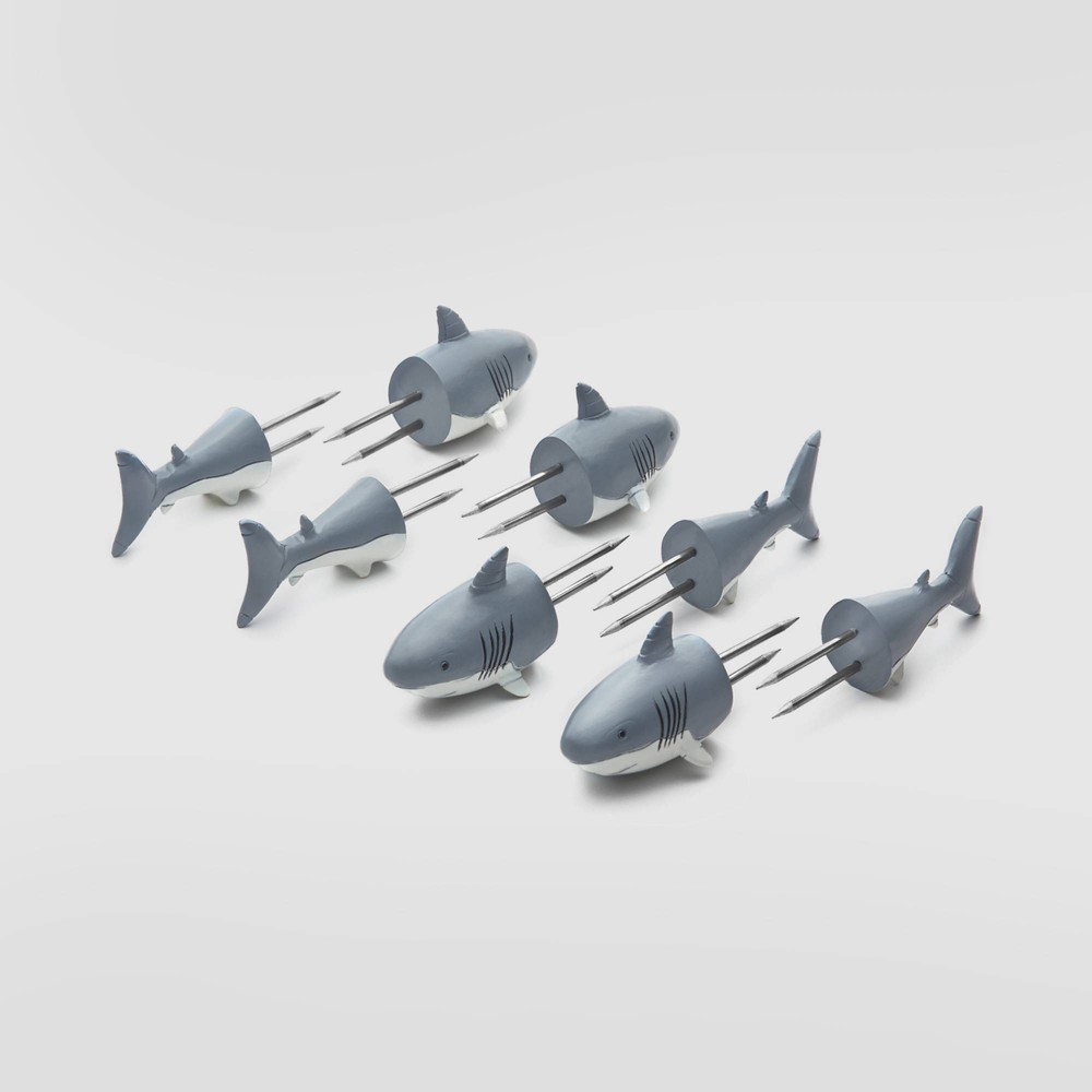 Image of 6pk Stainless Steel Shark Corn Holders Gray - Outset