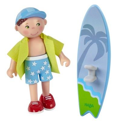 "HABA Little Friends Colin - 4"" Boy Dollhouse Figure with Surfboard"