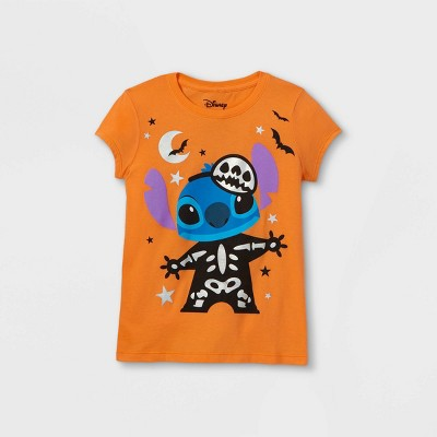 Girls' Disney Stitch Short Sleeve Graphic T-Shirt - Orange
