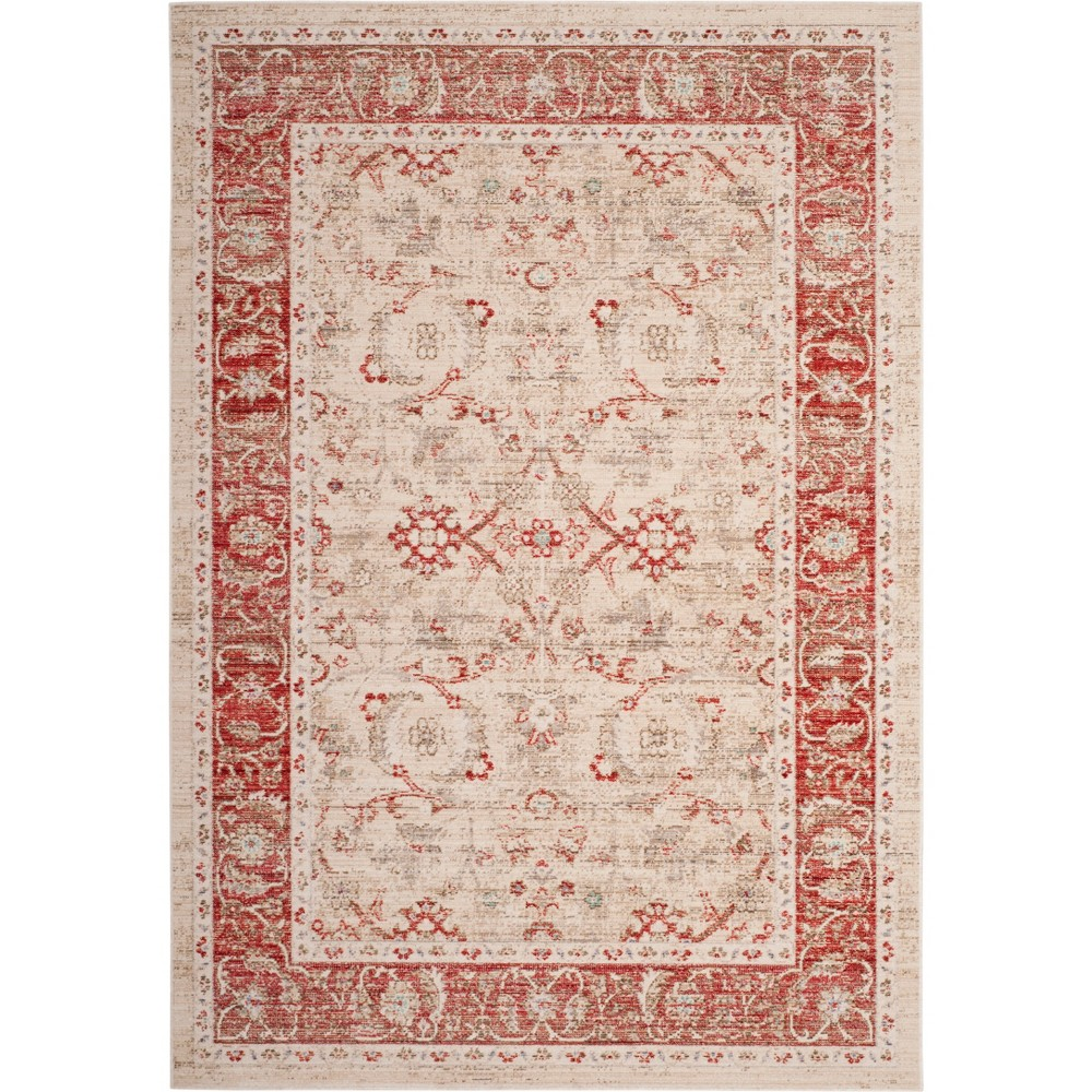 5'X7' Floral Loomed Area Rug Ivory/Red - Safavieh, White