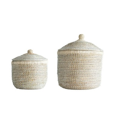 Set of 2 Woven Baskets with Lids Whitewashed - 3R Studios