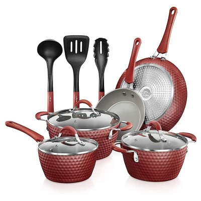 NutriChef Metallic Nonstick Ceramic Cooking Kitchen Cookware Pots and Pans with Lids, Utensils, and Cool Touch Handle Grips, 11 Piece Set, Red
