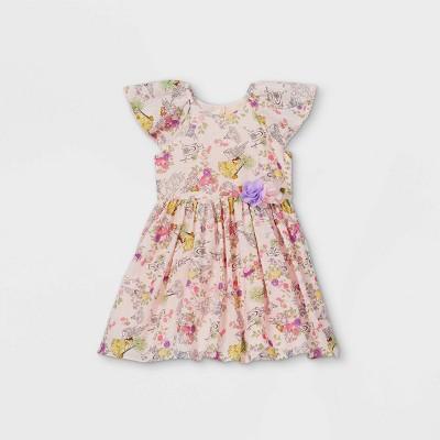 Toddler Girls' Disney Princess Floral Short Sleeve Woven Dress - Pink
