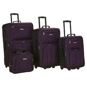 Rockland Journey 4 Piece Luggage Set - Purple