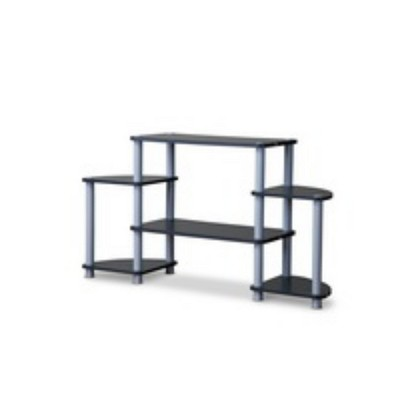 Orbit and Silver 3 Tier TV Stand Black/Silver - Baxton Studio