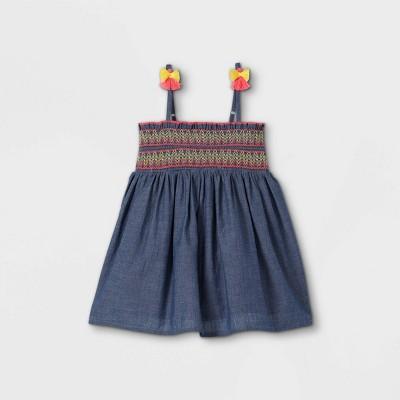 Toddler Girls' Chambray Smocked Tank Top - Cat & Jack™ Dark Blue
