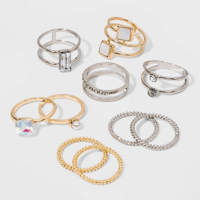 Shiny Gold and Rhodium Acrylic Stone Multi Ring Pack - Wild Fable™