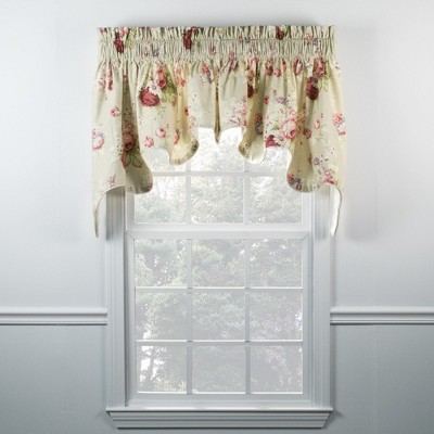 Ellis Curtain Sanctuary Rose 2-Piece High Quality Room Darkening Solid Natural Color Classic Print Duchess Window Valance - 100 x 30, Beige