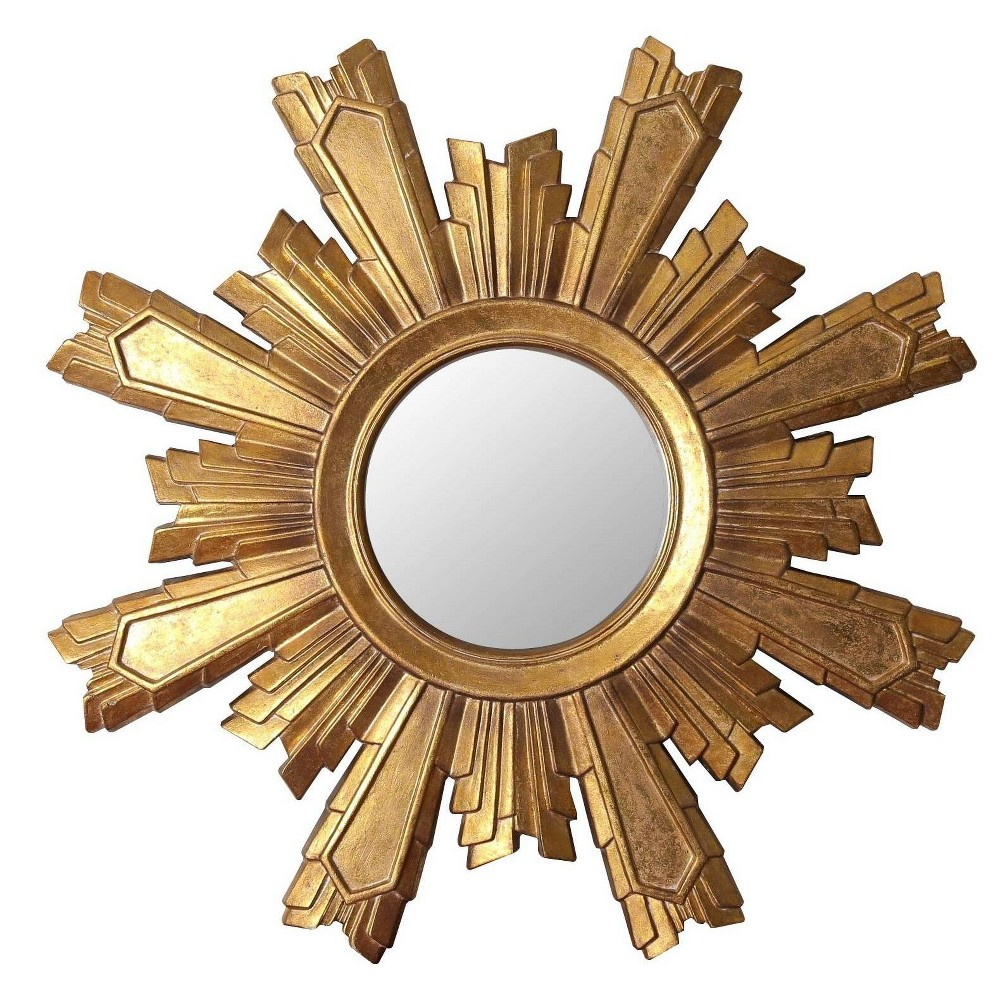 "Image of Abbyson Living 12""x12"" Tilda Gold Sunburst Wall Mirror Gold"