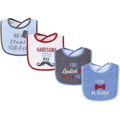 Hudson Baby Infant Boy Cotton Terry Drooler Bibs with Fiber Filling 4pk, The Ladies Love Me, One Size