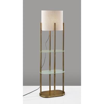 Norman Shelf Floor Lamp Antique Brass - Adesso
