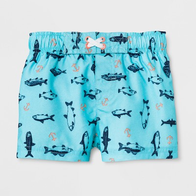 Baby Boys' Fish Swim Trunks - Cat & Jack™ Blue 9M