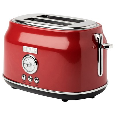 Haden Dorset 2-Slice Wide Slot Stainless Steel Countertop Retro Toaster with Adjustable Browning Control, Red