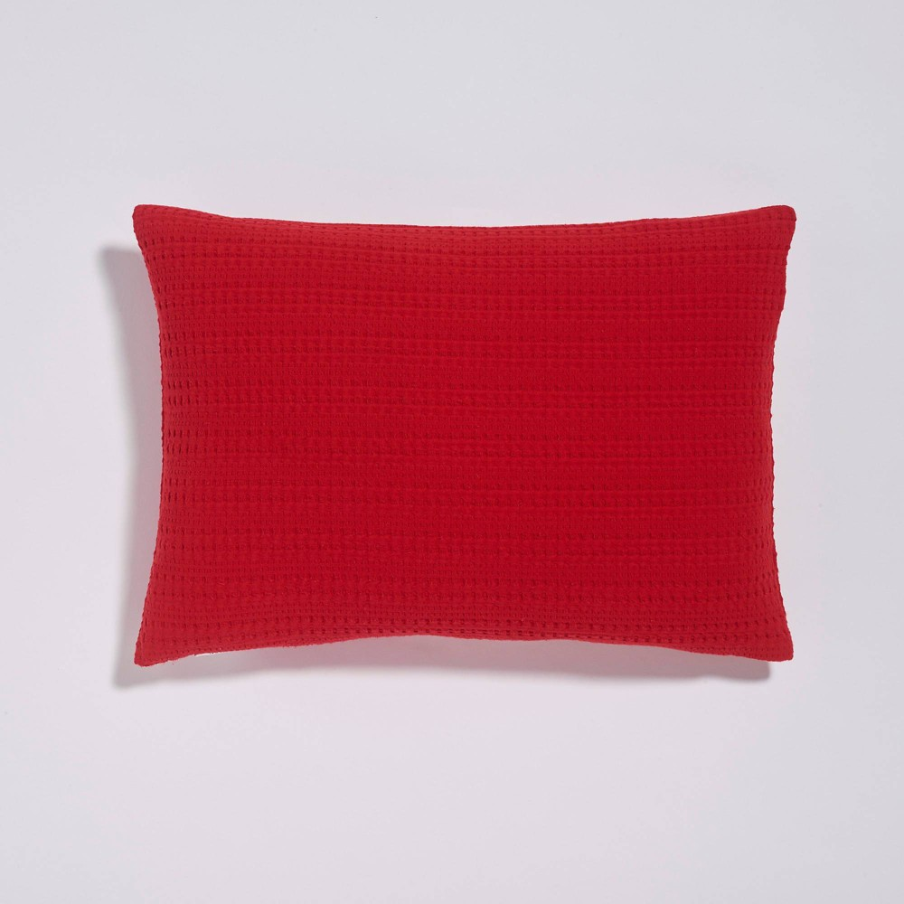 14 34 X20 34 Lumbar Clive Textured Flange Throw Pillow Red Sure Fit