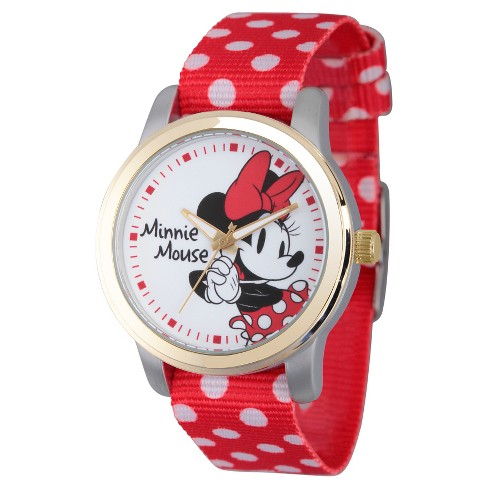 Women's Disney Minnie Mouse Two Tone Alloy Watch - Red - image 1 of 2