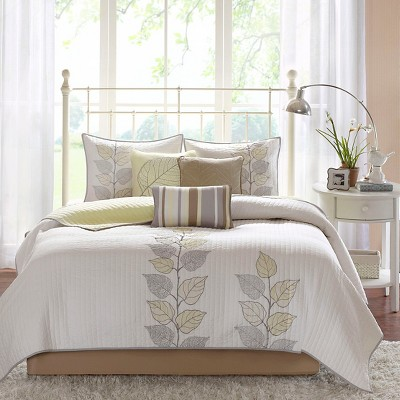 Yellow Marissa Quilted Coverlet Set Queen 6pc