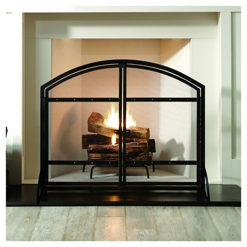 Pleasant Hearth Harper Fireplace Screen With Doors Antique Black
